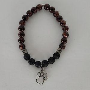 Lava Stone Diffuser Bracelet with Paw Print Charm